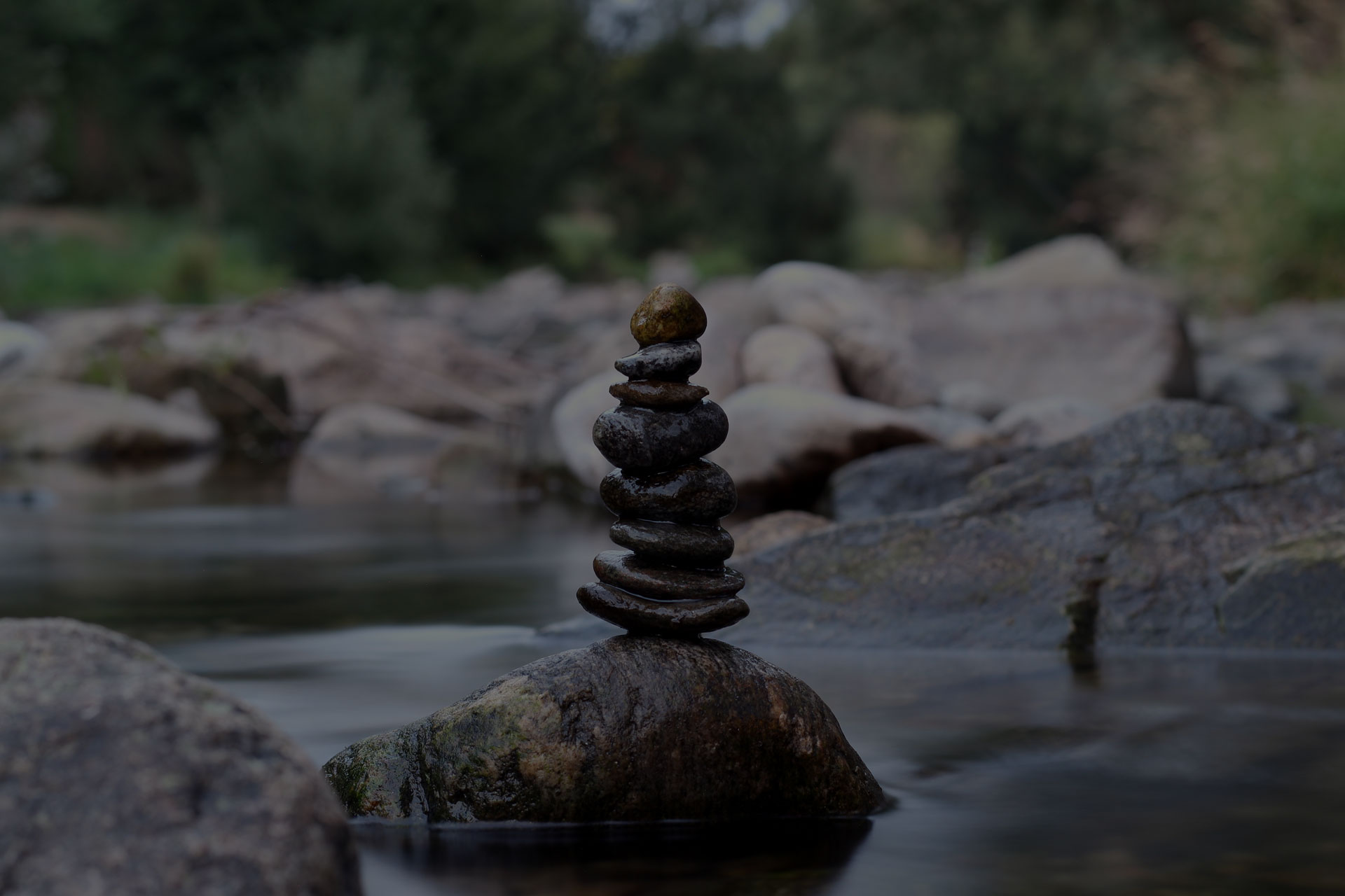stone balance at the river